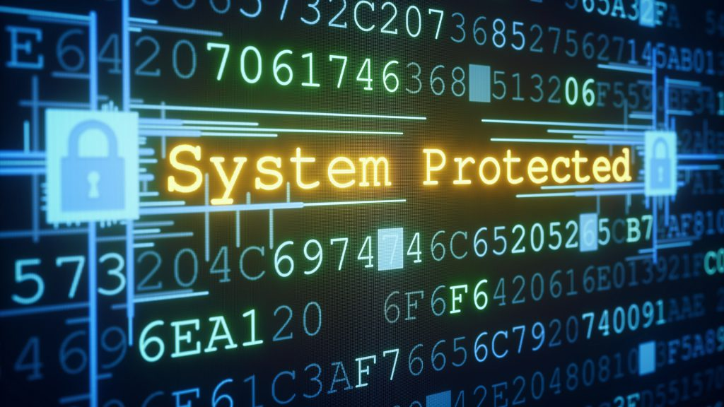 """An abstract IT design concept of system or data protection. A central glowing message of """"System Protected"""" is informing the user about the security status. Padlocks on both sides of the message are shown in a locked state, affecting the whole system. Everything is situated inside a hexadecimal code """"data-block""""."""