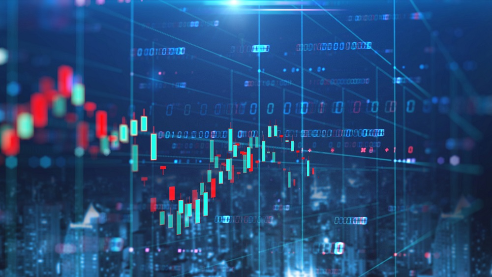 double exposure image of stock market investment graph and city skyline scene,concept of business investment and stock future trading.