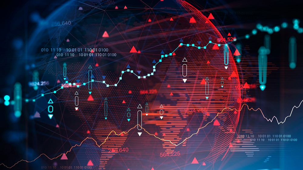 Digital graph over blurry blue background with planet hologram. Futuristic immersive interface. Concept of trading and fintech. 3d rendering toned image double exposure