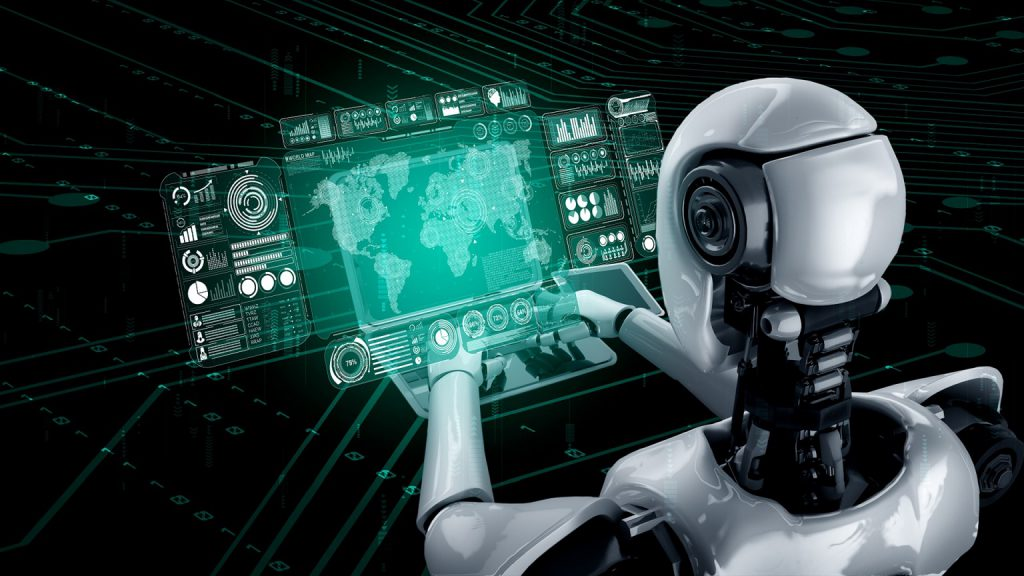 Robot humanoid use laptop and sit at table for big data analytic using AI thinking brain , artificial intelligence and machine learning process for the 4th fourth industrial revolution . 3D rendering.